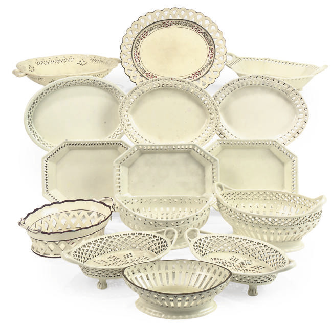 A COLLECTION OF SHORTHOSE & CO. CREAMWARE BASKETS
