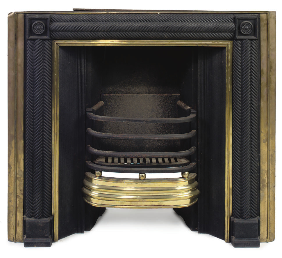 A GEORGE III SCOTTISH CAST-IRON AND BRASS FIREGRATE