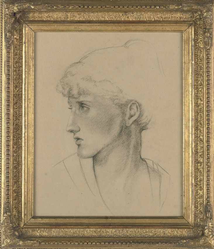 Study of a woman's head, in profile to sinister