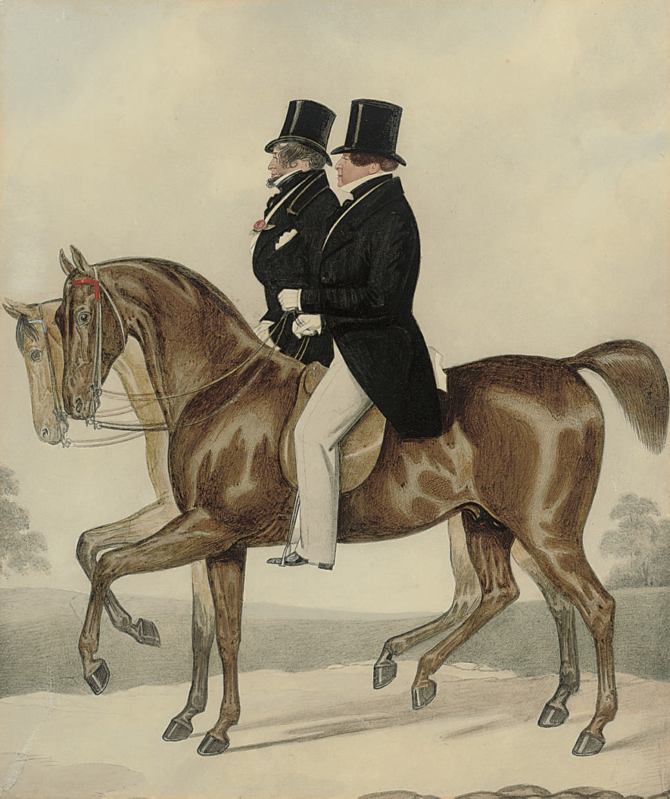 George IV with Count D'Orsay out riding, at Bath