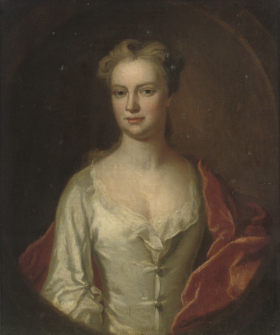 Portrait of a lady, half-length, in an oyster satin dress with a red velvet wrap, feigned oval