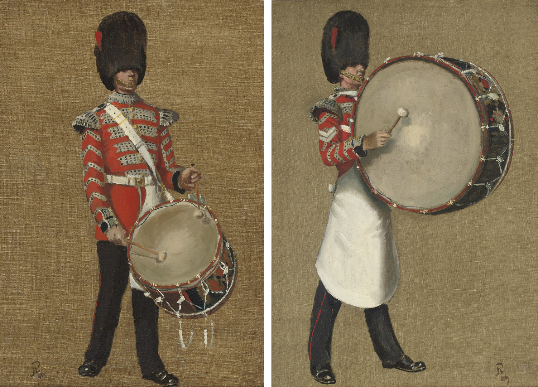 Coldstream Guards drummer; and Another similar