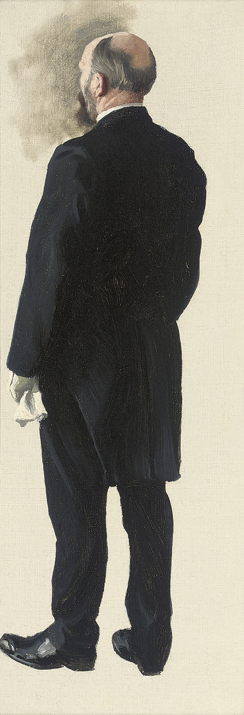 Study of a gentleman, traditionally identified as the King of Sweden, in tails and white gloves