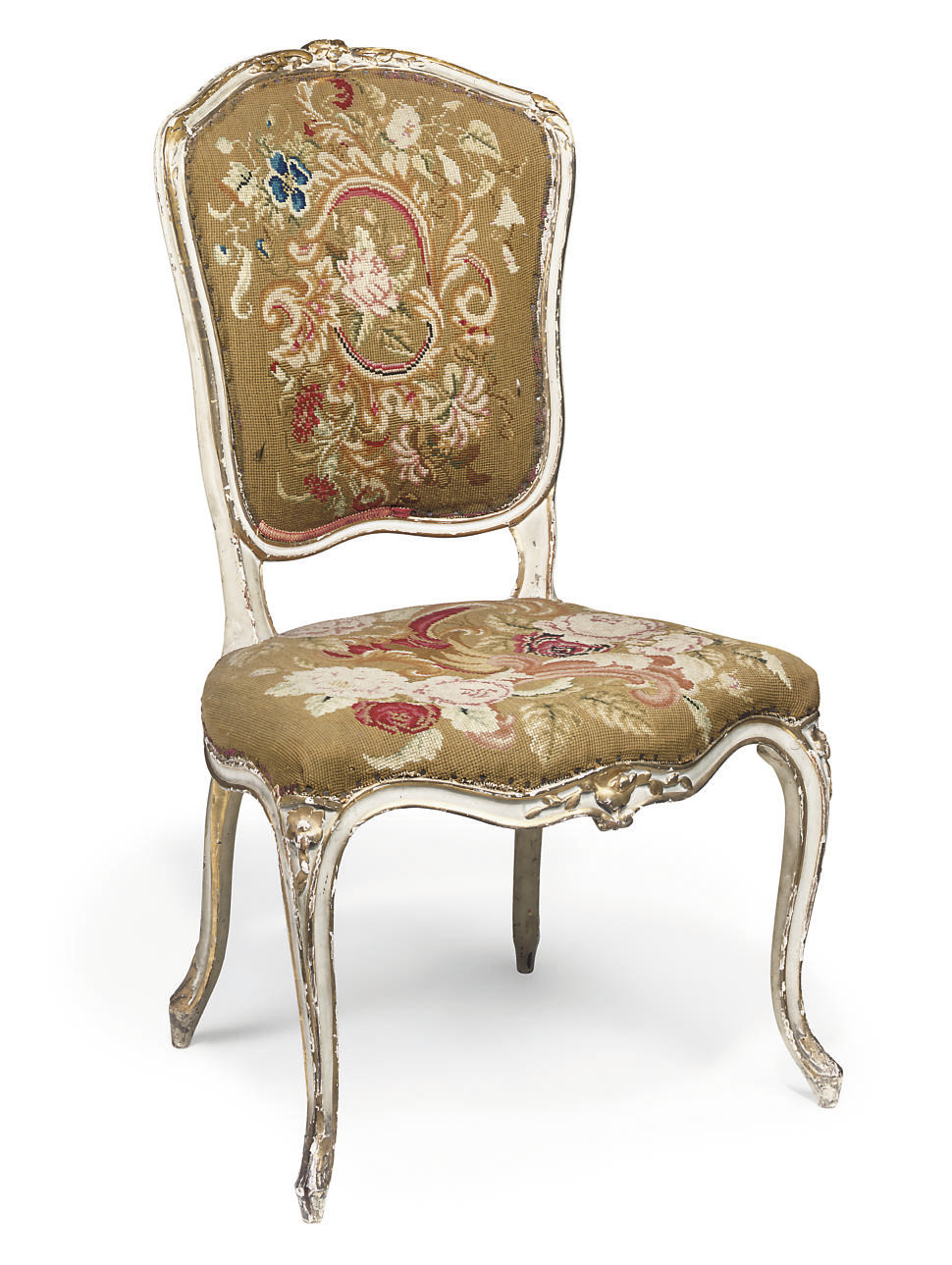 A LOUIS XV GREY PAINTED AND PARCEL-GILT CHAISE EN CABRIOLET