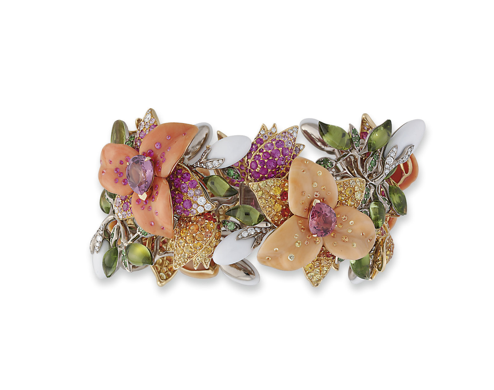 **AN EXCEPTIONAL CORAL, DIAMOND AND MULTI-GEM FLORAL BANGLE, BY LORENZ BÄUMER