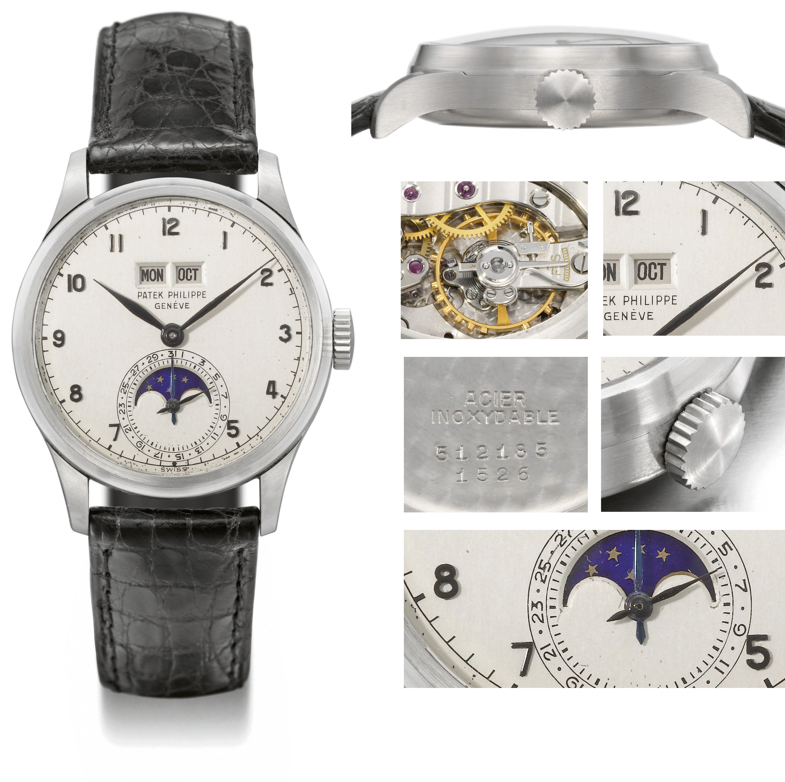Patek Philippe. An outstanding and unique stainless steel perpetual calendar wristwatch with phases of the moon, amagnetic balance and applied painted Arabic numerals