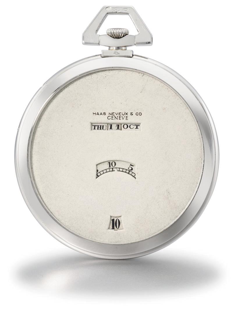 Haas Neveux. A slim platinum triple calendar keyless lever jump hour dress watch