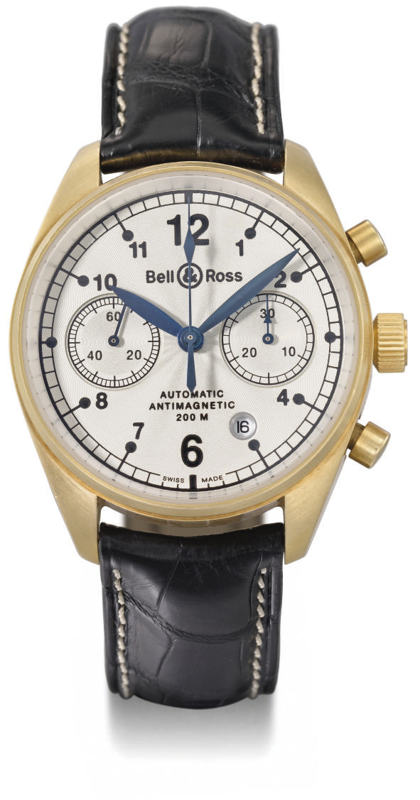 Bell & Ross. An 18K gold self-winding water-resistant antimagnetic chronograph wristwatch with date