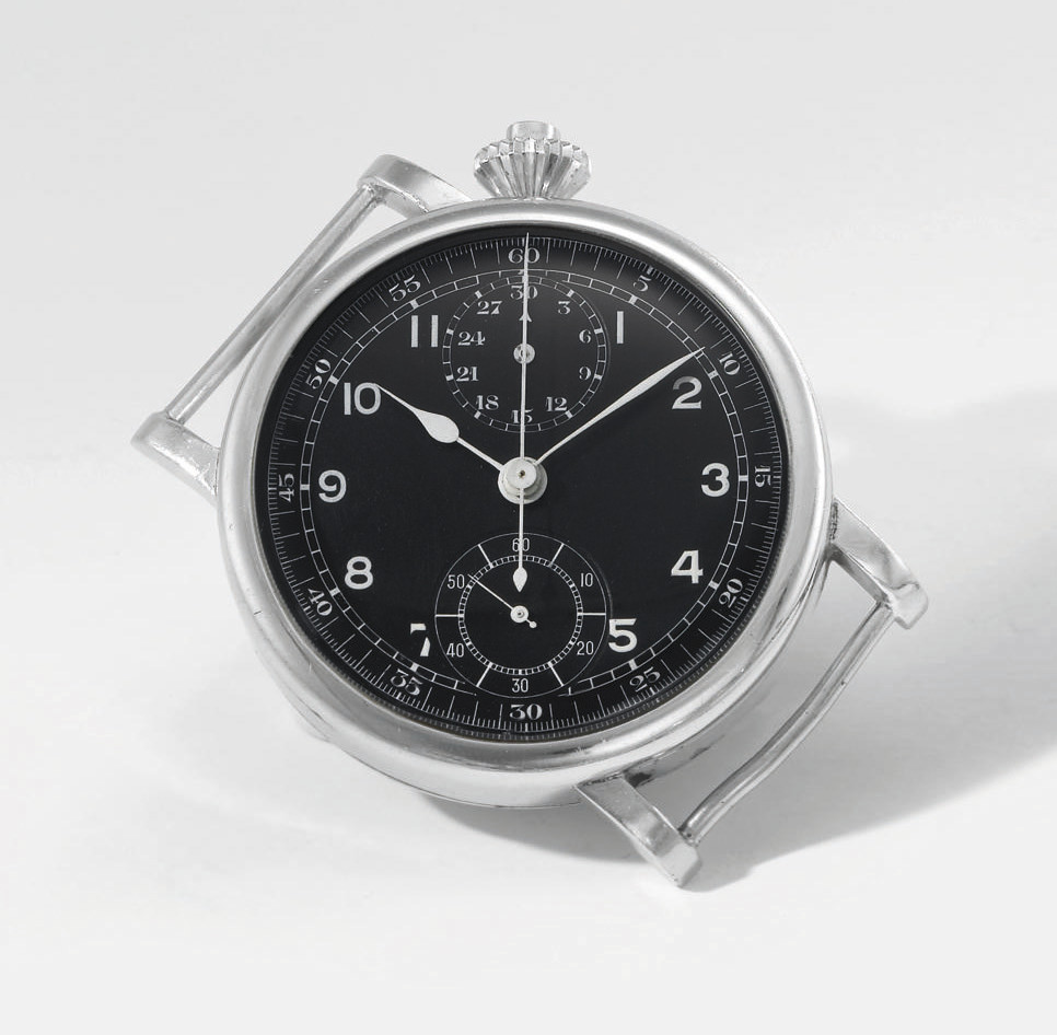 Meylan. A large and unusual stainless steel military single button chronograph wristwatch with hacking feature, diagonally positioned dial and crown