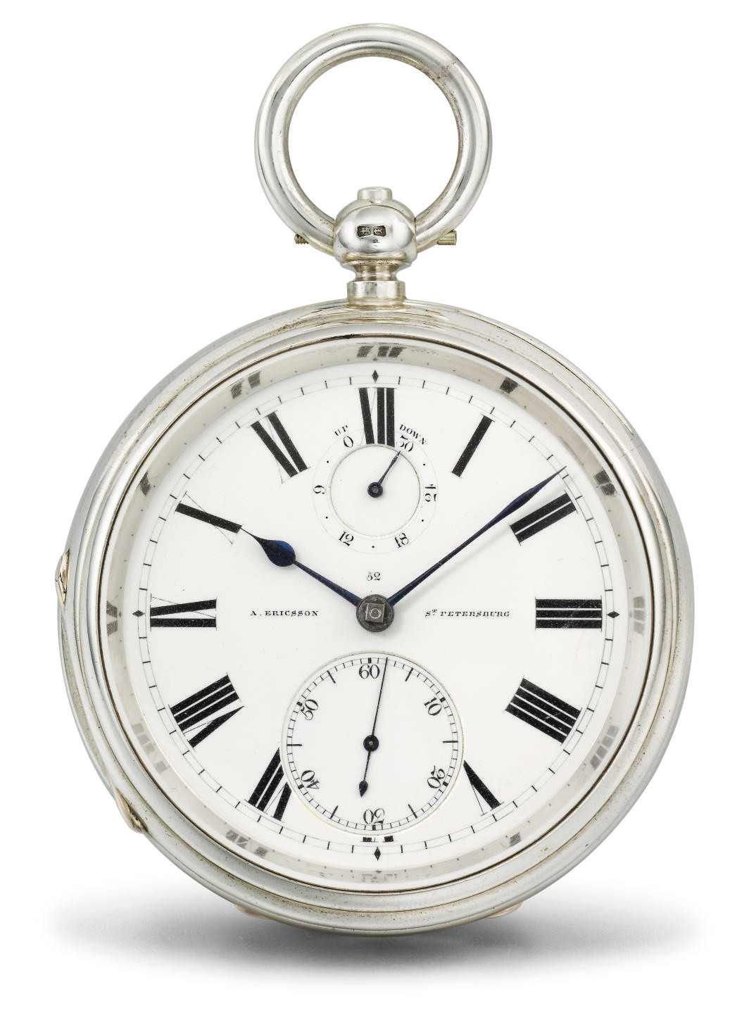 Victor Kullberg, made for A. Ericsson. A silver openface keywound pocket chronometer with power reserve
