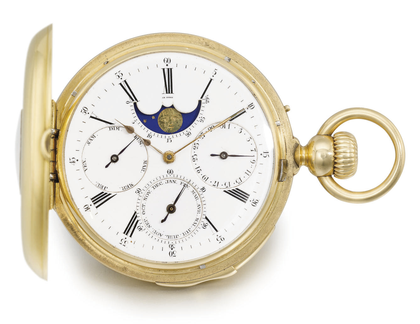 Louis Audemars, made for Charles Oudin. A fine, rare and early 18K gold half hunter case minute repeating perpetual calendar keyless lever watch with moon phases