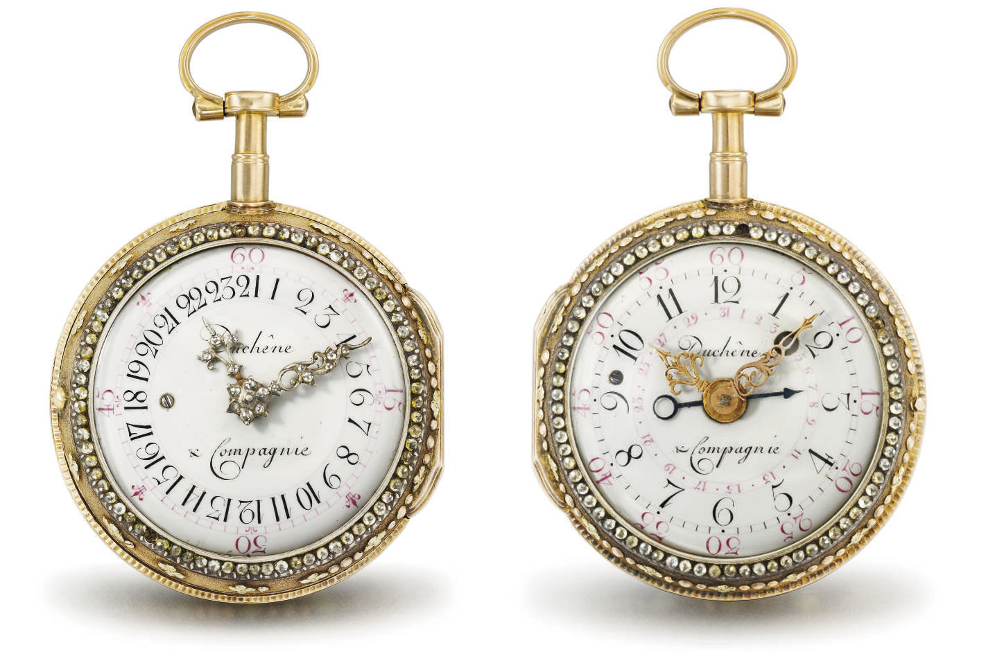 Duchene. A fine and rare 18K gold, enamel and paste-set double dial verge watch with 24 hour indication and date