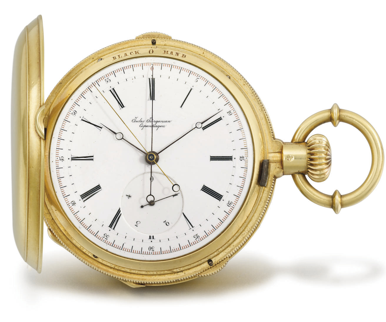 Jules Jürgensen. A rare 18K gold hunter case two train independent split seconds keyless lever watch with flying fifths of a second