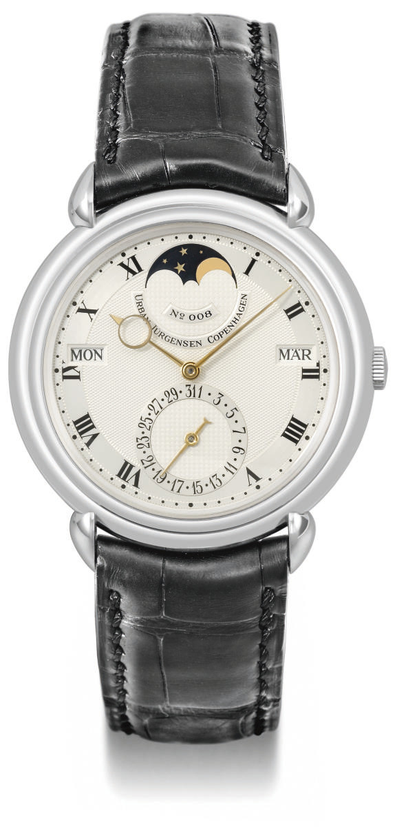 Urban Jürgensen. A fine and rare platinum automatic perpetual calendar wristwatch with power reserve and moon phases