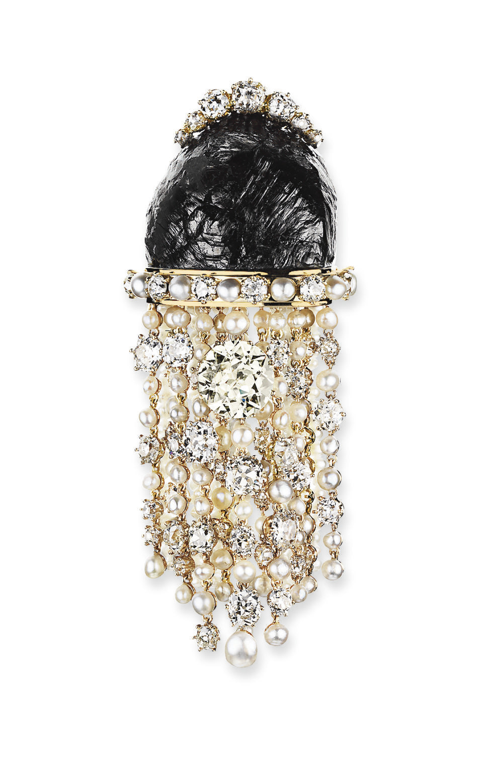 A COLOURED DIAMOND, DIAMOND AND PEARL BROOCH, BY LOMBARD
