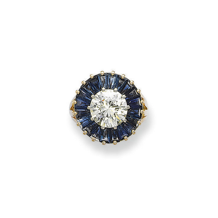 A SAPPHIRE AND DIAMOND RING, BY SCHILLING