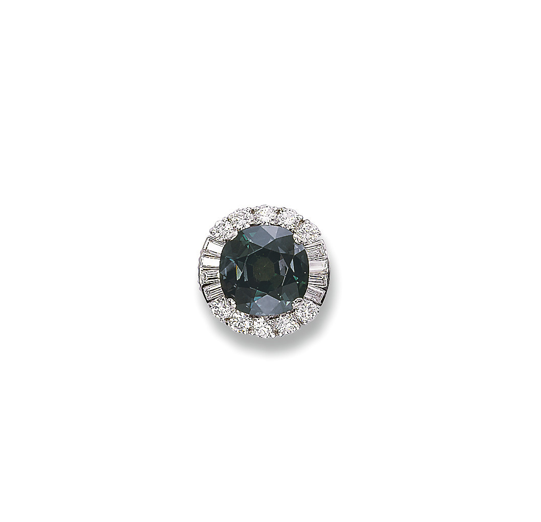 A FINE ALEXANDRITE AND DIAMOND RING, BY MEISTER