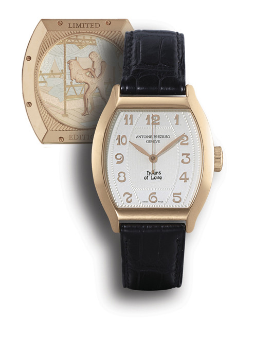 """ANTOINE PREZIUSO, """"HOURS OF LOVE""""  18K PINK GOLD MANUAL-WINDING TONNEAU-SHAPED WRISTWATCH WITH SWEEP SECONDS AND CONCEALED EROTIC AUTOMATON, LIMITED EDITION OF 30 PIECES"""