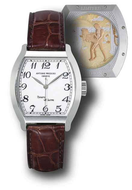 """ANTOINE PREZIUSO, """"HOURS OF LOVE""""  STAINLESS STEEL MANUAL-WINDING TONNEAU-SHAPED WRISTWATCH WITH SWEEP SECONDS AND CONCEALED EROTIC AUTOMATON, LIMITED EDITION OF 69 PIECES"""