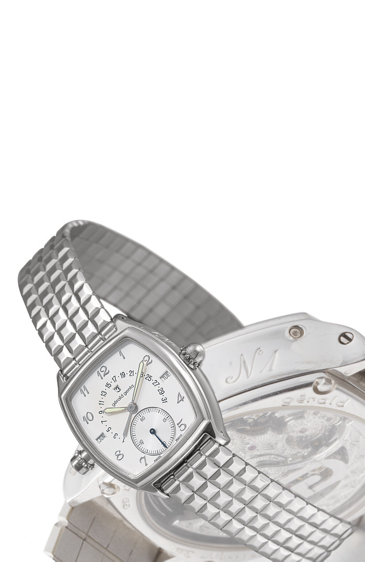 GÉRALD GENTA  18K WHITE GOLD SELF-WINDING TONNEAU-SHAPED PERPETUAL CALENDAR MINUTE REPEATING BRACELET WATCH WITH SMALL SECONDS AND RETROGRADE DATE DISPLAY