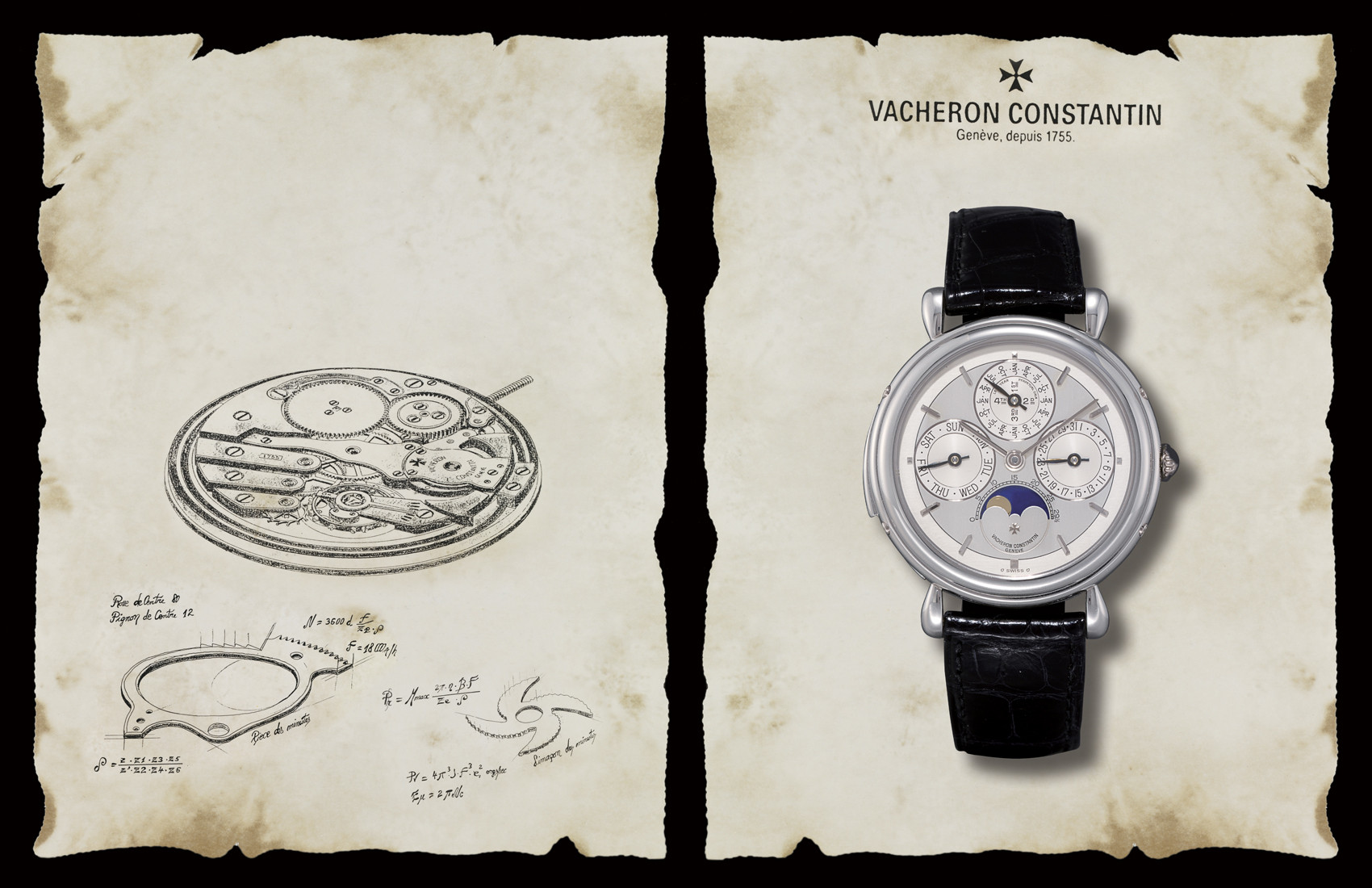 "VACHERON CONSTANTIN, ""RÉPÉTITION MINUTES - QUANTIÈME PERPÉTUEL""  950 PLATINUM MANAUL-WINDING PERPETUAL CALENDAR MINUTE REPEATING WRISTWATCH WITH AGE AND PHASES OF THE MOON"