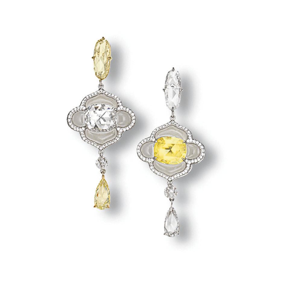 A PAIR OF COLOURED DIAMOND, DIAMOND AND ROCK CRYSTAL EAR PENDANTS, BY J. KOO