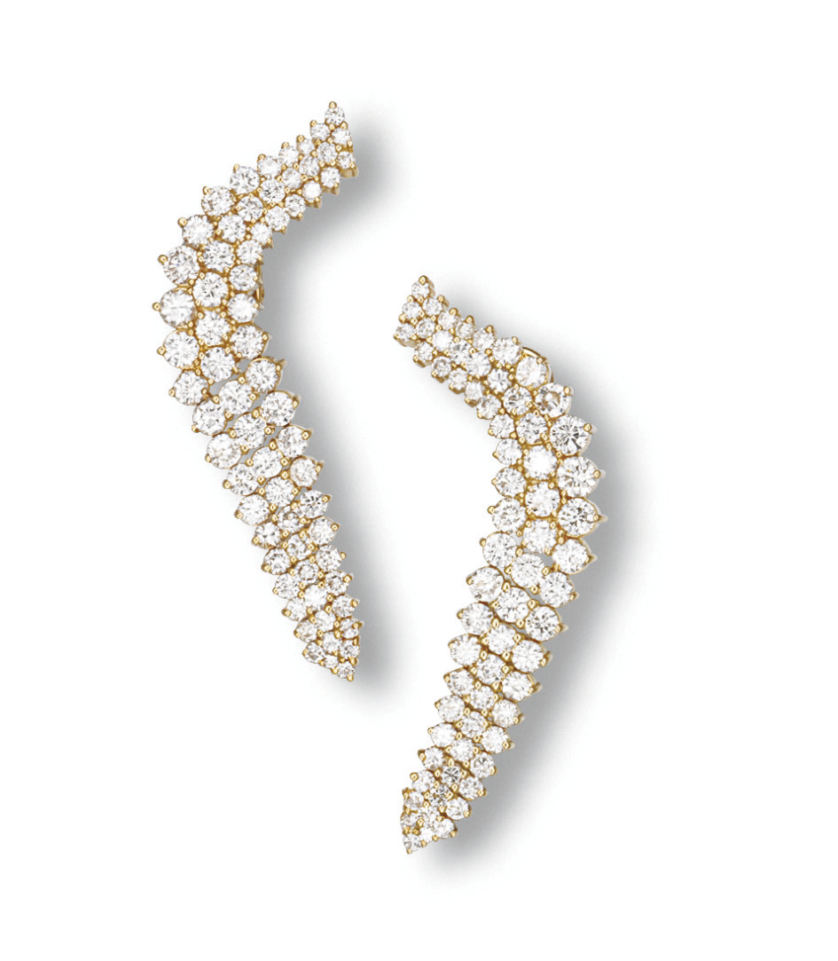 A PAIR OF DIAMOND PENDANT EARCLIPS, BY JOSE HESS