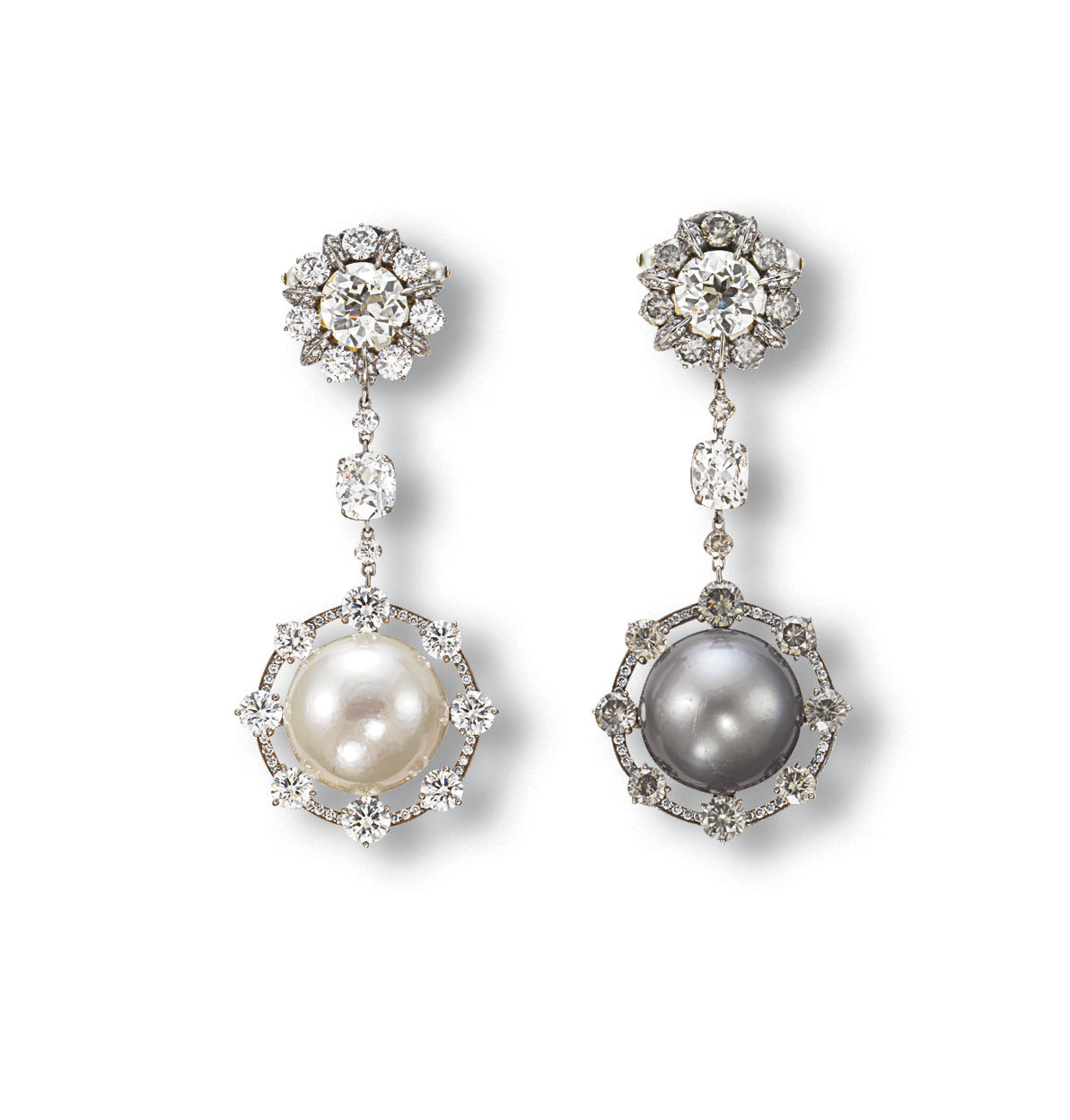 AN ELEGANT PAIR OF PEARL AND DIAMOND EAR PENDANTS, BY WALLACE CHAN