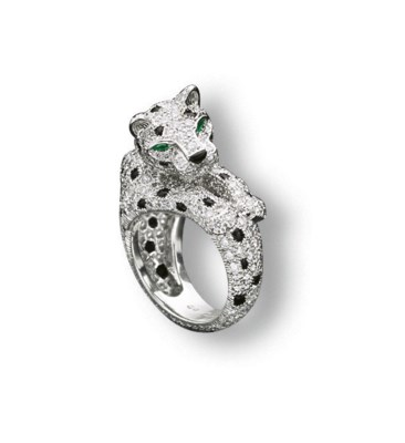 A Diamond Emerald And Onyx Panth 200 Re Ring By Cartier