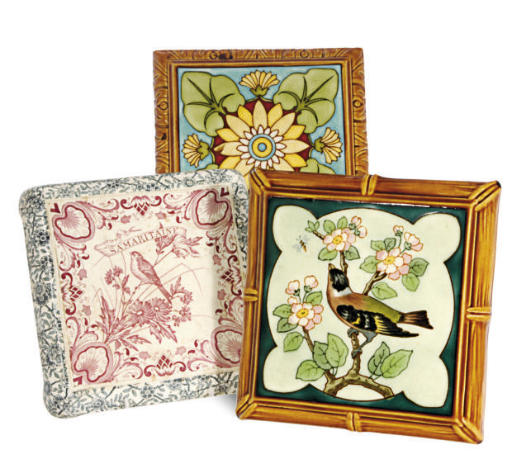 A GROUP OF FIVE CONTINENTAL MAJOLICA PLAQUES,