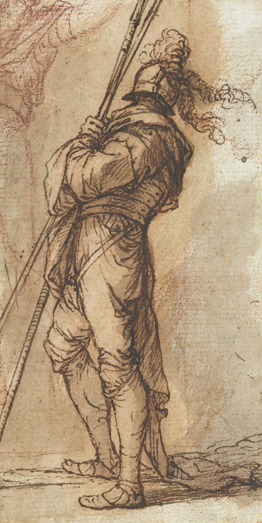 A warrior standing, holding two lances, and a subsidiary study of a young man with his arm raised