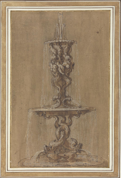 Design for a fountain with conches and tritons above a basin supported by dolphins
