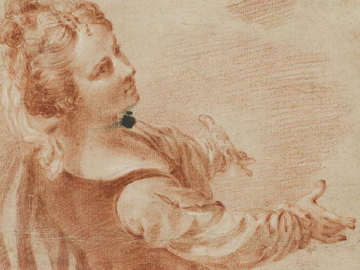 A young woman leaning back, facing right with her arms outstretched