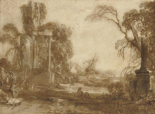 A capriccio with livestock and peasants among ruins, a shipwreck seen beyond