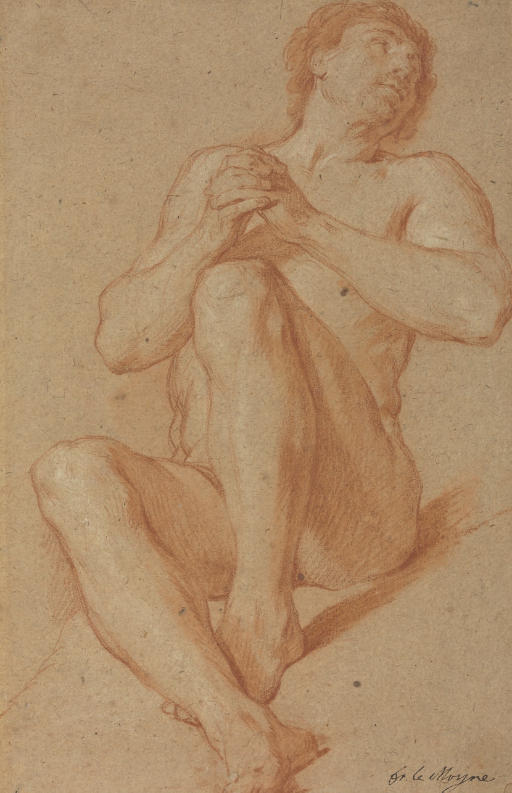 A seated academic nude with his hands clasped