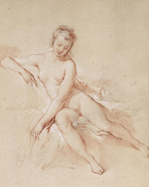 A seated female nude