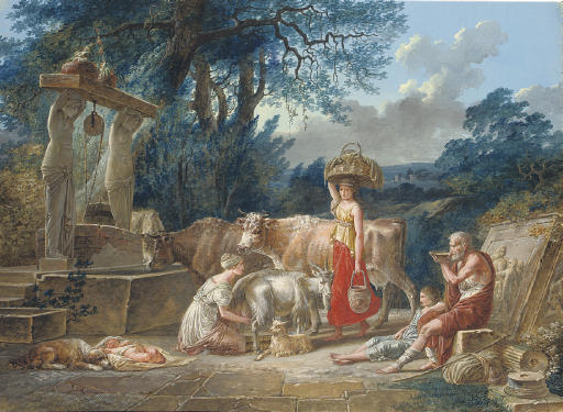 A peasant family and their animals by a well in a classical landscape
