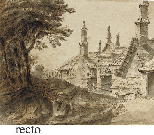 Houses seen from a wooded path (recto), a subsidiary study of trees (verso)