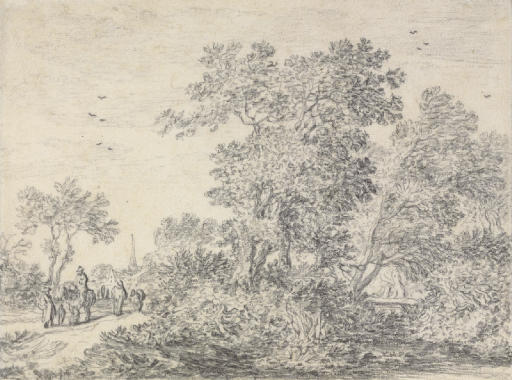 Trees on a rise with travelers on a road