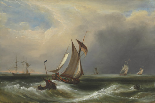 Fishing boats off a coast with other shipping