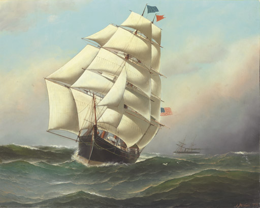 An American clipper ship at sea passing a steamship