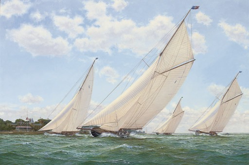 Britannia, Cambria, Lulworth and Shamrock vying for line honours, 1927