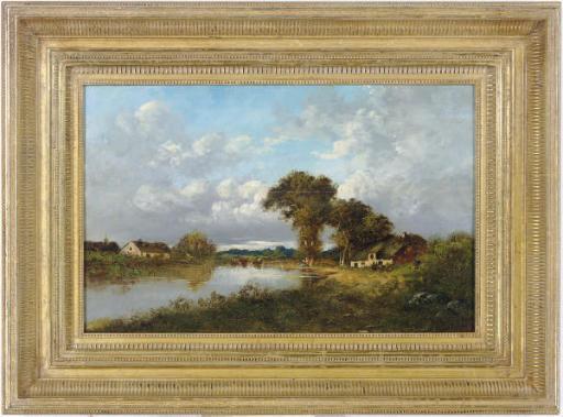 Farmhouses along a river