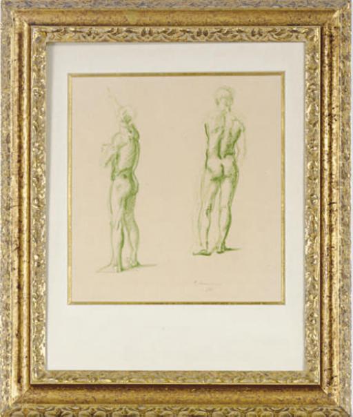 Study of a male nude; and a companion print