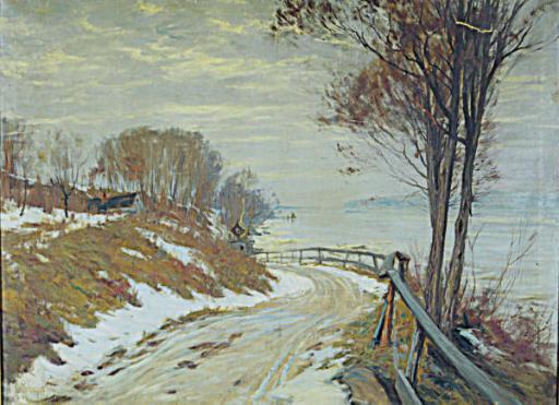 Road through a snowy landscape