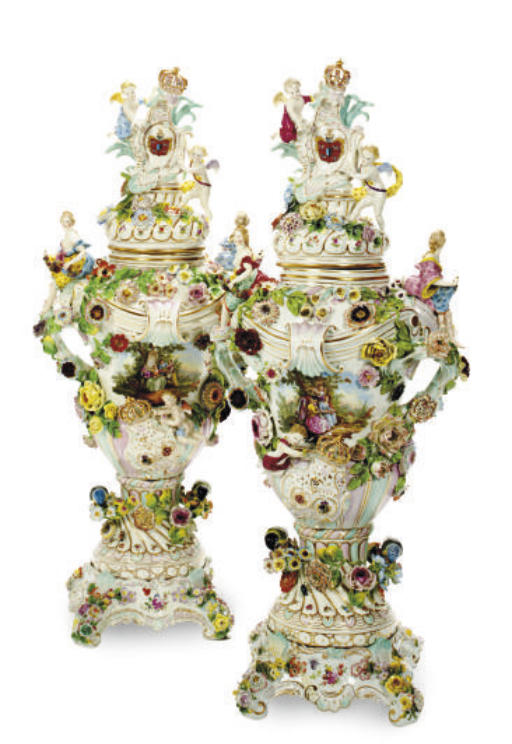 A PAIR OF GERMAN FLOWER-ENCRUSTED ARMORIAL VASES, COVERS AND STANDS,
