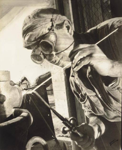 Swiss Welder, later 1940s; and Worker in a Kibbutz, Palestine, c. 1939