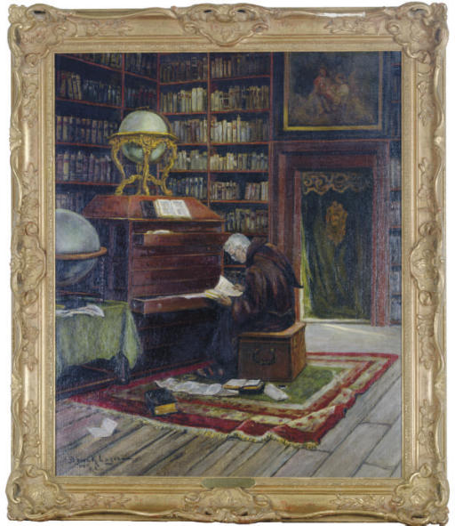 A monk in a library