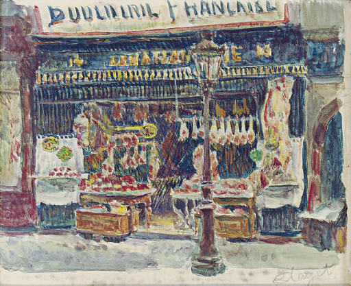 Butcher storefront; and a companion work