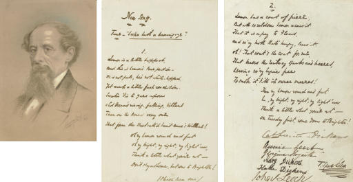 "DICKENS, Charles. Autograph manuscript signed (""T. Sparkler,"" with Dickens's characteristic flourish), a humorous verse invitation to Mark Lemon (""Lemon is a little hipped...""), also signed by members of the Dickens family circle: his wife Catherine Hogarth Dickens (""Catherine Dickens,"" 1815-1879), Georgina Hogarth (1827-1917), Katie Dickens (1839-1929), Mary Dickens (1838-1896), the illustrator John Leech (signed in mock childish fashion, 1817-1864) and his wife Annie Leech, boldly headed at top of first page ""New Song,  Tune: Lesbia hath a beaming eye,"" comprising two eight-line stanzas, each with a four-line refrain. N.d. [June 1849]."